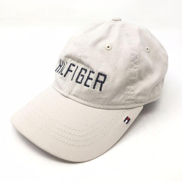 5bbd7706046 Vintage Tommy Hilfiger Logo Flag Tan Beige Strapback Cap Baseball Hat 90s  B1A