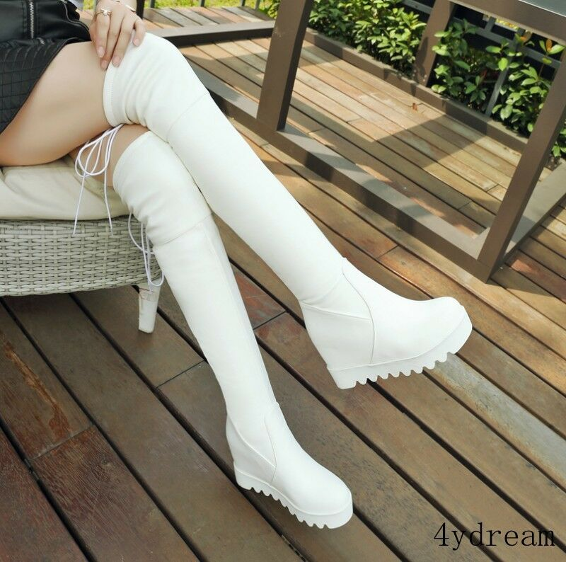 Women Ladies PU Knee High Boots High Wedge Hidden Heel Pu Leather Platform Boots