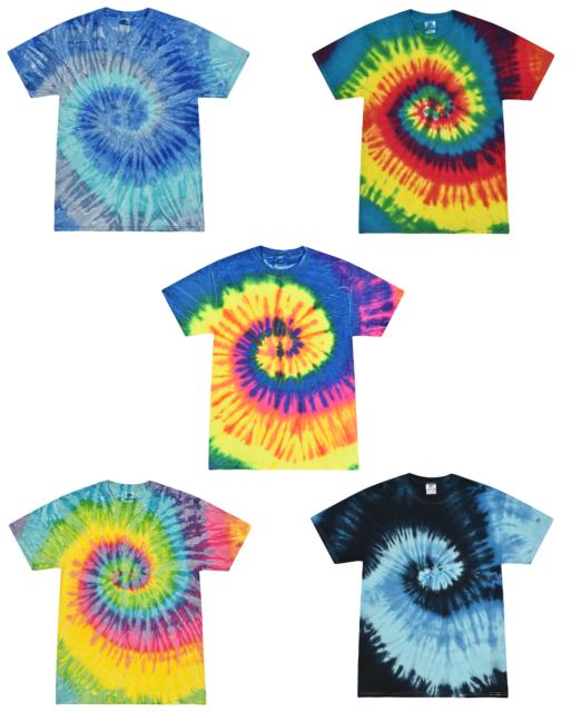 Tie Dye T-Shirts Kids & Adult Sizes Unisex 100% Cotton Colortone-Gildan