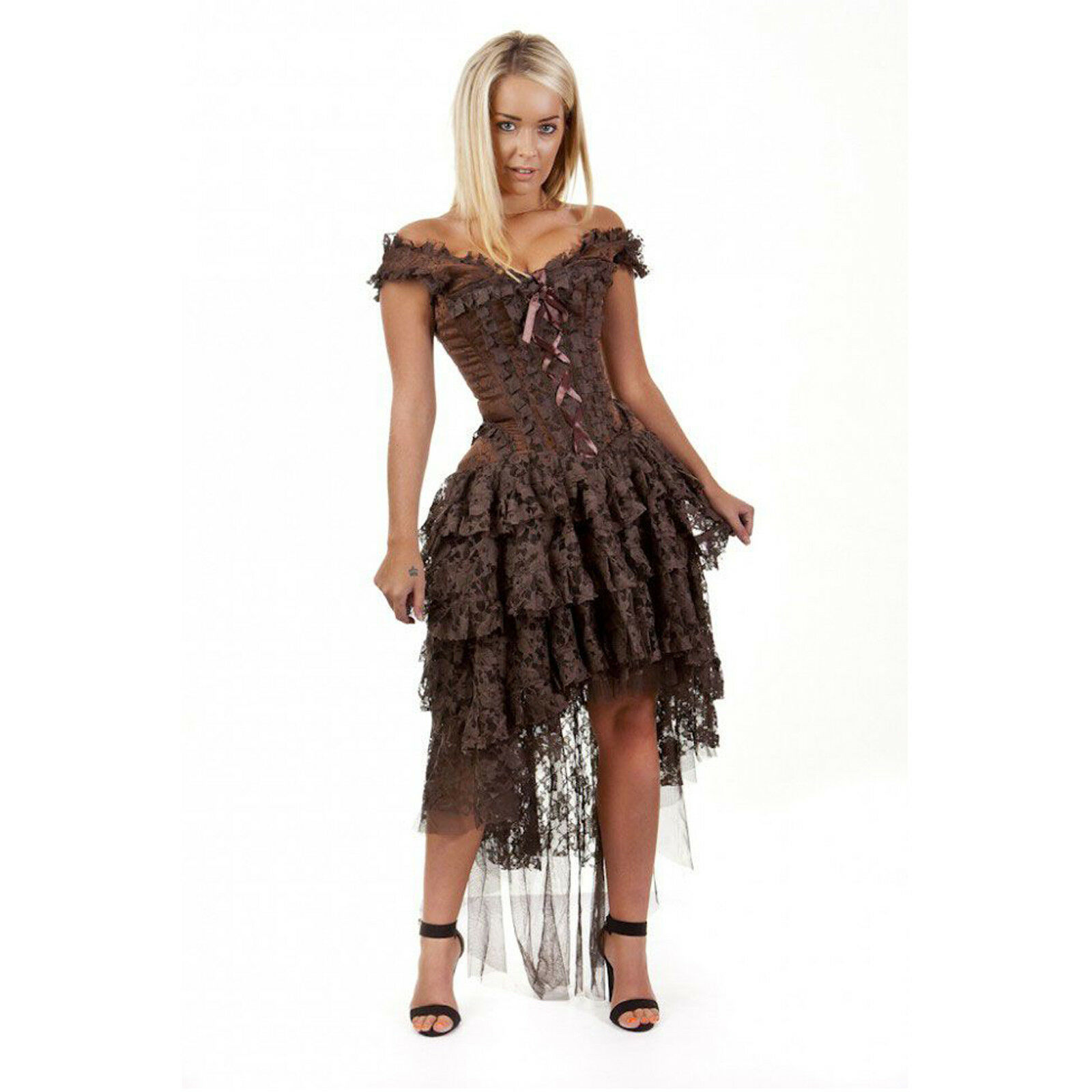 Steampunk Kleid in Braun Brokat und Spitze von Burleska