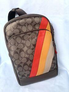 Coach-Men-039-s-Bag-C1362-QBA5F-Graham-Pack-Sig-Canvas-Diagonal-Stripe-QB-Charcoal