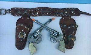 1955 ROY ROGERS Double Holster KILGORE (2) Cap Gun REVOLVER SET