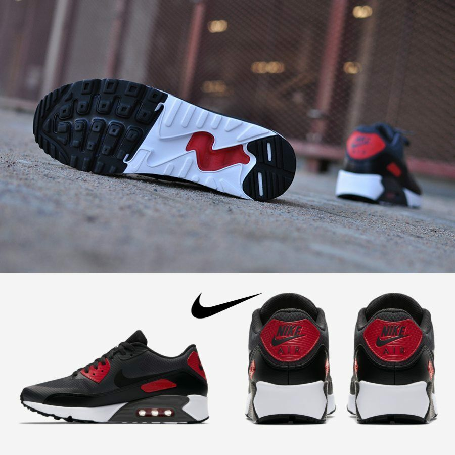 purchase cheap d3597 59831 NIKE Air Max 90 Ultra 2.0 Essential Running Shoes Black Red 875695-007 SIZE  7-11