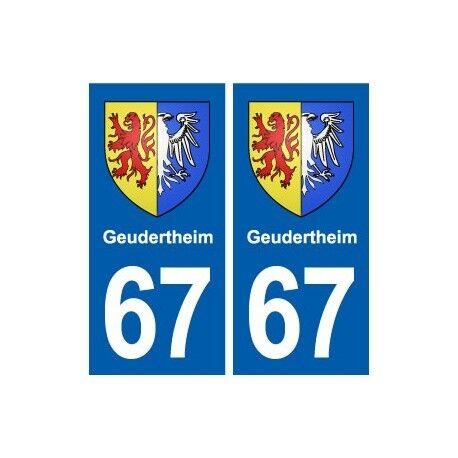 67 Geudertheim blason autocollant plaque stickers ville -  Angles : droits
