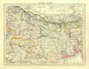 Johnston 1906 Map British India Ne Bengal Nepal Bhutan Calcutta Bangladesh