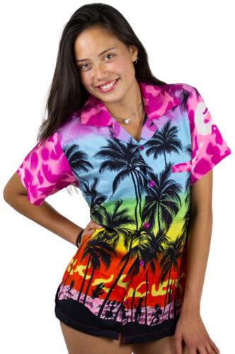 Funky Hawaiihemd Damen Kurzarm Front-Tasche Hawaiian Shirt Beach Babypink Hawai