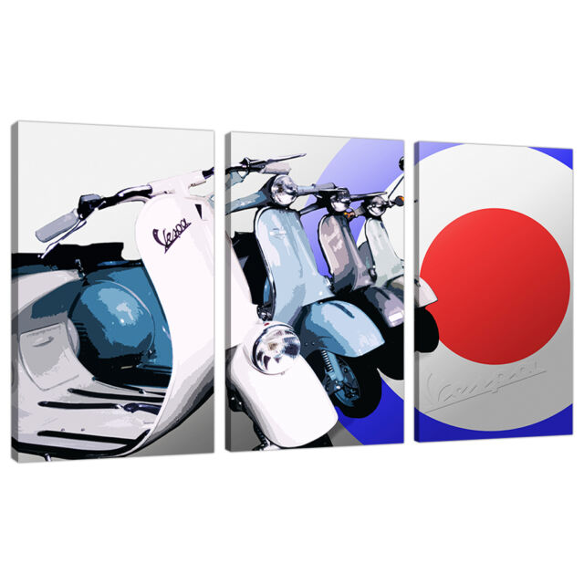 set 3 part canvas wall art pictures boys bedroom scooters mods 3149