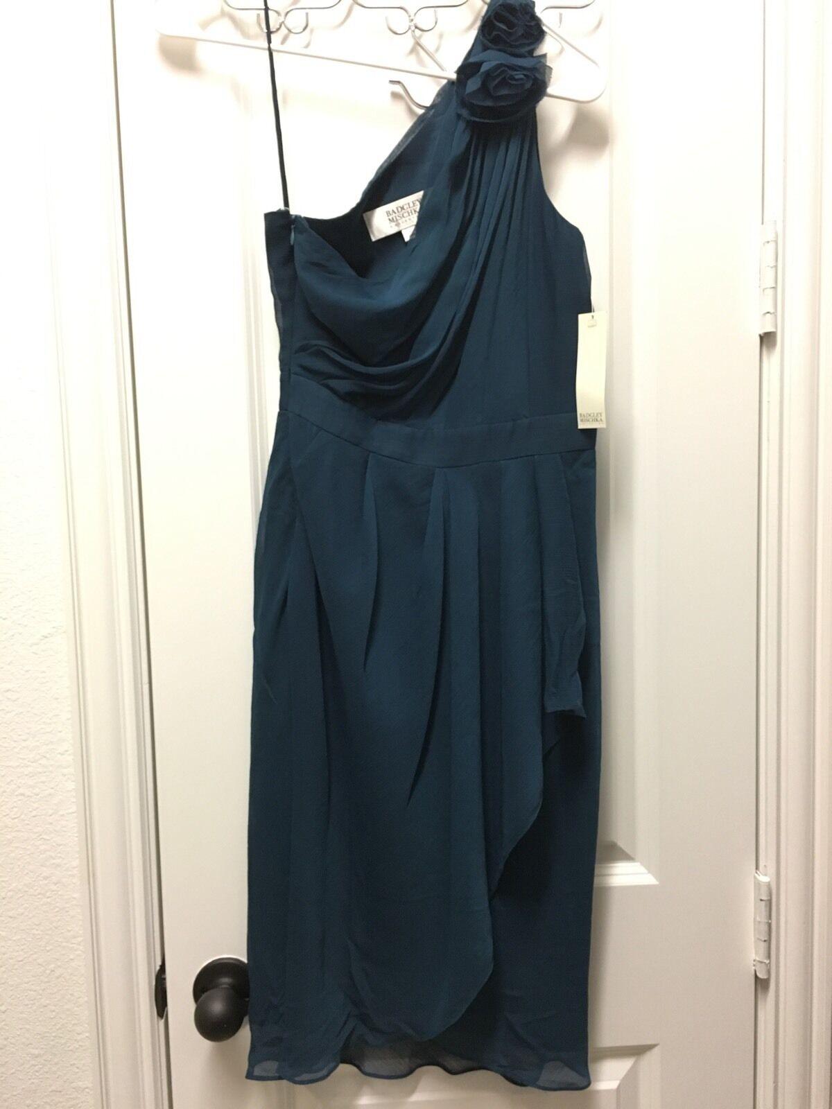 Badgley Mischka One Shoulder Dress in Teal - Size 0
