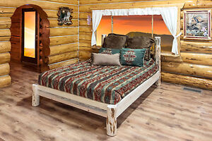 Amish log platform bed rustic queen beds rustic lodge for Log cabin style bunk beds