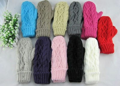 New Style Women's Knit Twist Mittens Gloves Warm Winter Hand Accessories Cute