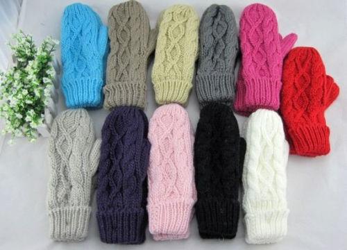 Fashion Women's Knit Twist Mittens Gloves Warm Winter Hand Accessories Soft