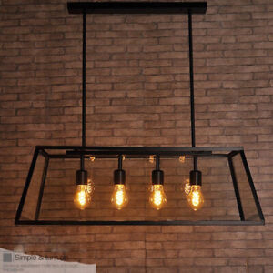 Details About Loft Black Metal Square Cage Gl Kitchen Pendant Lights With 4 Lamp
