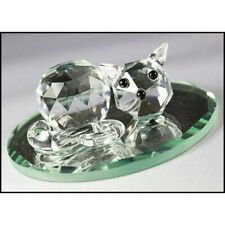 Cut Glass Sleeping Cat on Mirror Figurine Collectible Crystal Ornament