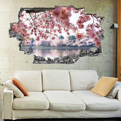 Plum Blossoms Tulips Flowers Landscape 3D Wall Mural Art Wallpaper Wall Stickers