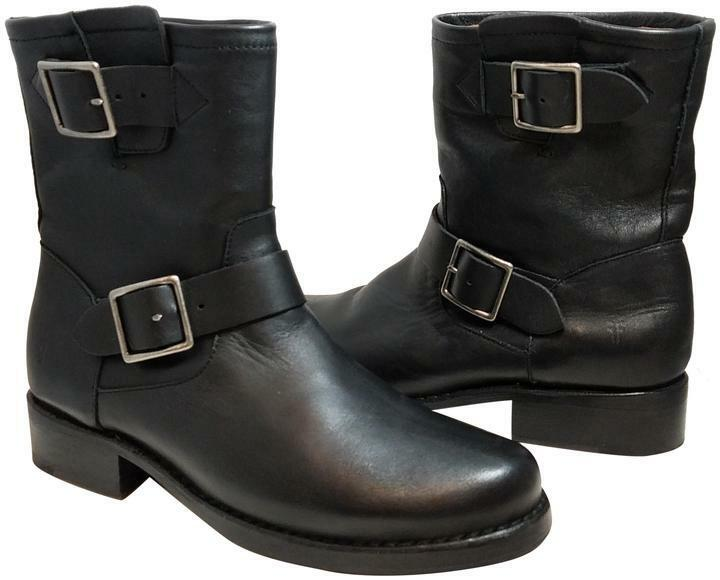New Frye Women's Vicky Engineer Black Leather BOOTS Sz 7M