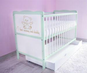 Babybett-Kinderbett-Juniorbett-120x60-Weiss-Gruen-3x1-Schublade-Matratze-a