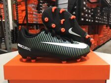 Nike Junior Mercurial Vortex III FG Cleats (Black/White/Green) Size: 10c-6y