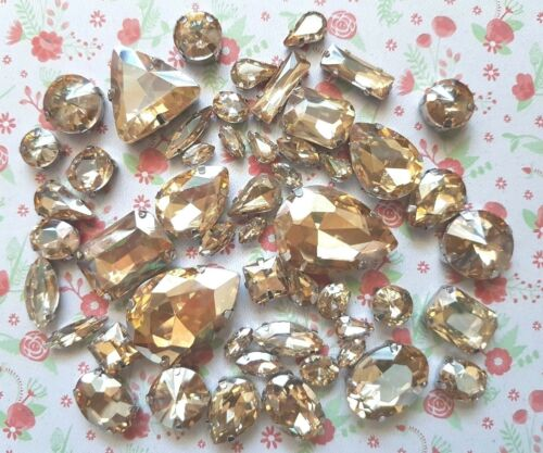 50pcs Mixed Sew On Champagne Crystal Glass Diamante Claw Set Rhinestone Gems