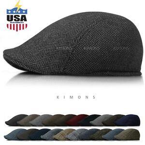 Wool-Herringbone-Newsboy-Gatsby-Cap-Ivy-Hat-Golf-Mens-Flat-Cabbie-Stripe