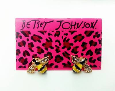 E816 Betsey Johnson Mini Queen Yellow Gem Crystal Bumble Bee Earrings US