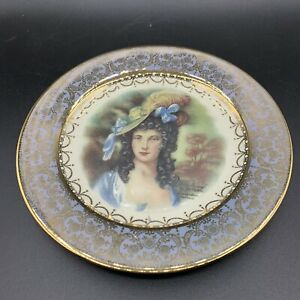 Vintage-Homer-Laughlin-Joh-Peters-Gainsborough-Plate-Gold-Band-Victorian-Woman