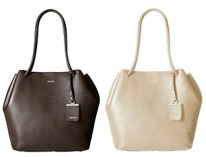 Image Is Loading Dkny Womens Brown Cream Large Tote Bag Leather