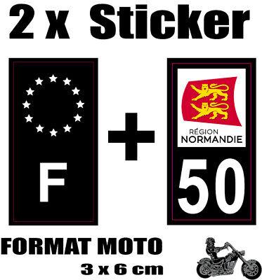2 Stickers Style Plaque Moto 3x6 Cm Black F étoiles Blanches + Département 50