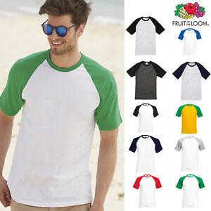 Men-039-s-Short-Sleeve-Baseball-Tee-Fruit-of-the-Loom-Casual-T-shirt-Raglan-Top