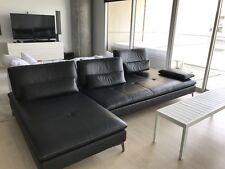 Roche Bobois Scenario Black Leather Designer Sofa