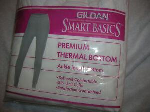 NEW-womens-thermal-bottom-White-ankle-length-rib-knit-cuffs-COTTON-Gildan-S-M