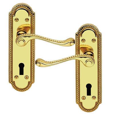 33010 Polished Brass Finish Georgian Scroll Door Handles With Keyhole