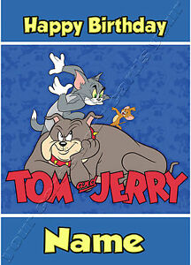 Detalles De Tom Y Jerry Personalizado De Cumpleaños Tarjeta Hija Hijo Niño Niña Para Niños Niños Ver Título Original