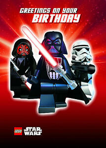 Image Is Loading STAR WARS LEGO Darth Vader Birthday Card Free
