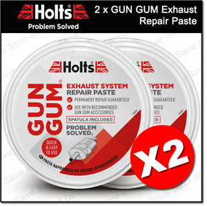 2x Holts Gun Gum Gas Tight Exhaust Silencer Repair Paste Putty GunGum GG2R