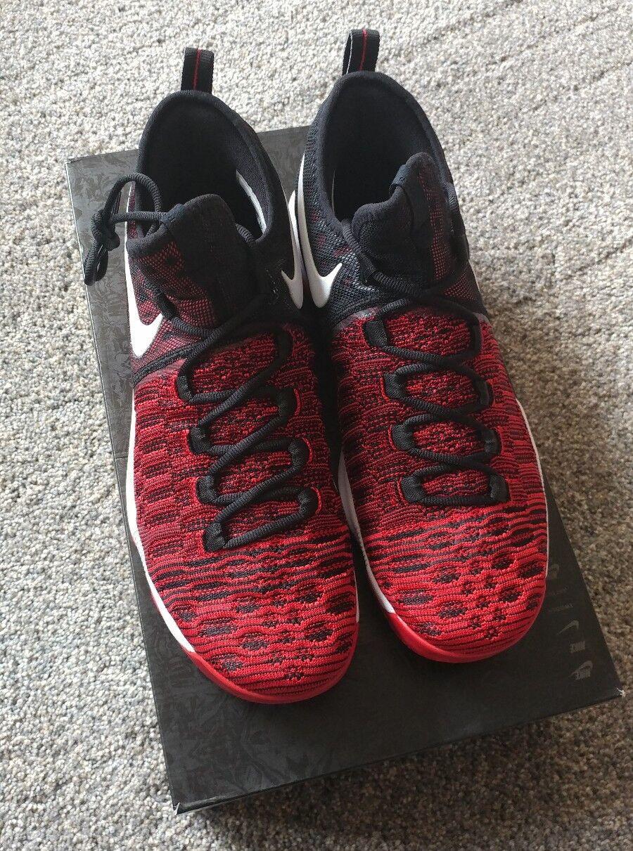2016 Nike Zoom KD 9 Flyknit SZ 12 University Red White Black 843392-610