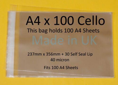 A4 x 100-Cellophane affichage Sac-fit 100 A4 Feuilles - 237 mm x 356 mm + 30 Mm Lip