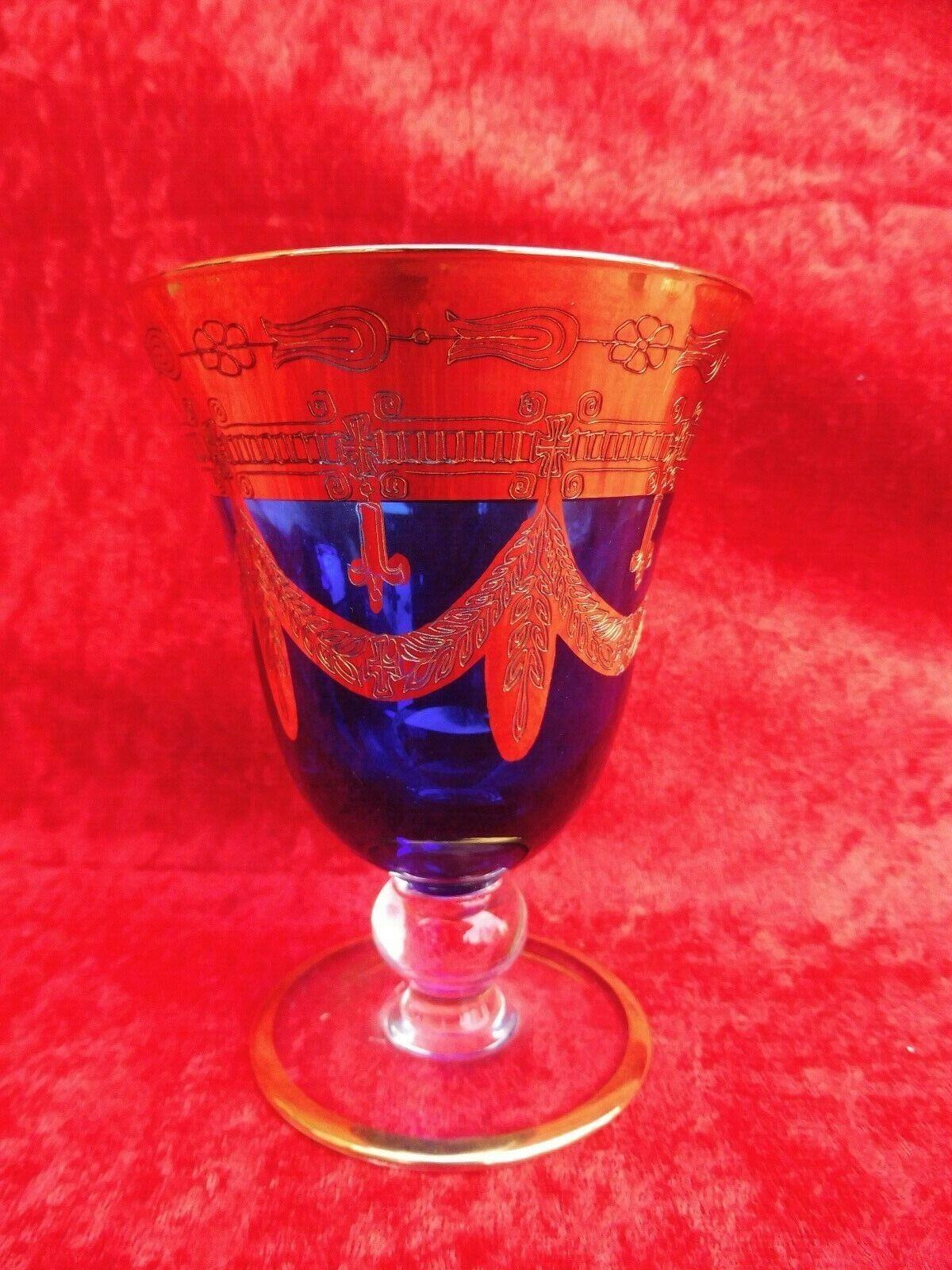 Noble Verre de vin __ interglass  __ Cristal Bleu Marine __ 24k-or __ rougeweinglas