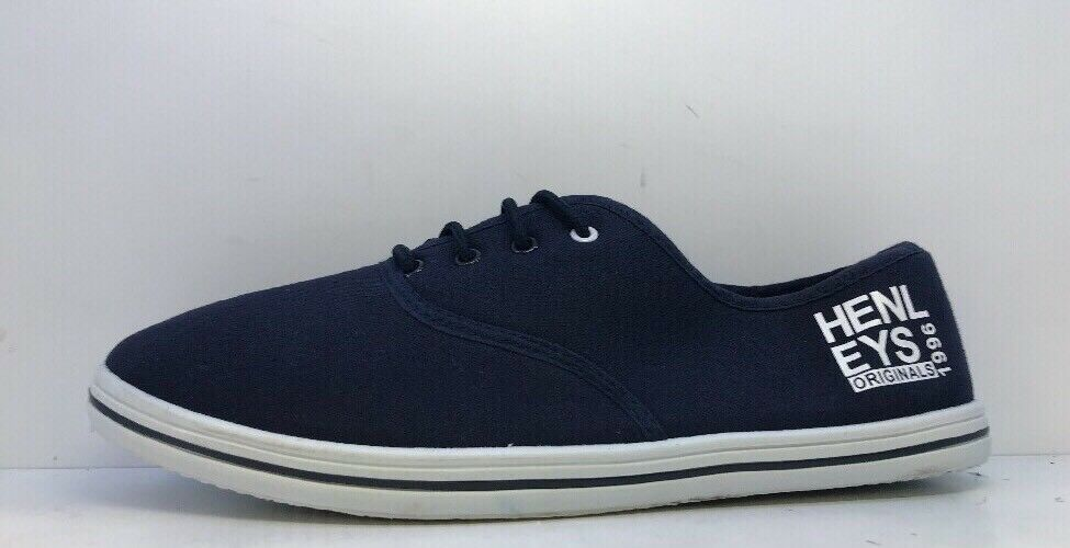 Henleys hommes bleu Low Top Lace Up Trainers Uk 9