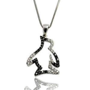 56803b2556 Collier argento 925 rodiato con ciondolo pinguino con zirconi ...