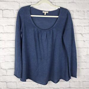 Eileen-Fisher-Womens-Blue-Size-Medium-100-Linen-Scoop-Neck-Long-Sleeve-Sweater