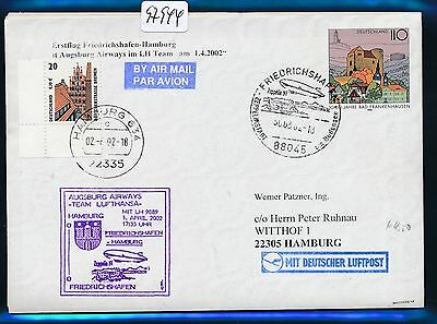 Nett 97944) Aa / Lh Ff Frdhfn - Hamburg 1.4.02, Zeppelin Nt, Zudruck Gau