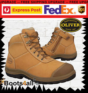 2a2ef61b97d Details about Oliver Mens Safety Work Boots Steel Toe Cap ZIP Side Wheat  Ankle Shoes 34662