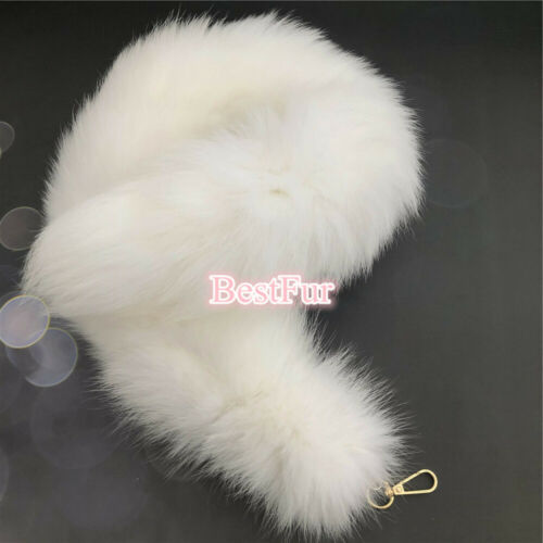 70cm Long Real White Fox Fur Tail Car Phone Bag Accessories Cosplay Toy Pendant