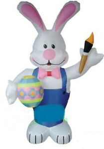 EASTER BUNNY WITH EGG PAINT BRUSH  AIRBLOWN INFLATABLE YARD DECORATION 7 FT