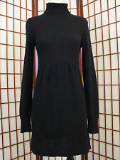 Aqua Cashmere Black Turtleneck Sweater Dress Long Sleeve Womens Small Soft Class