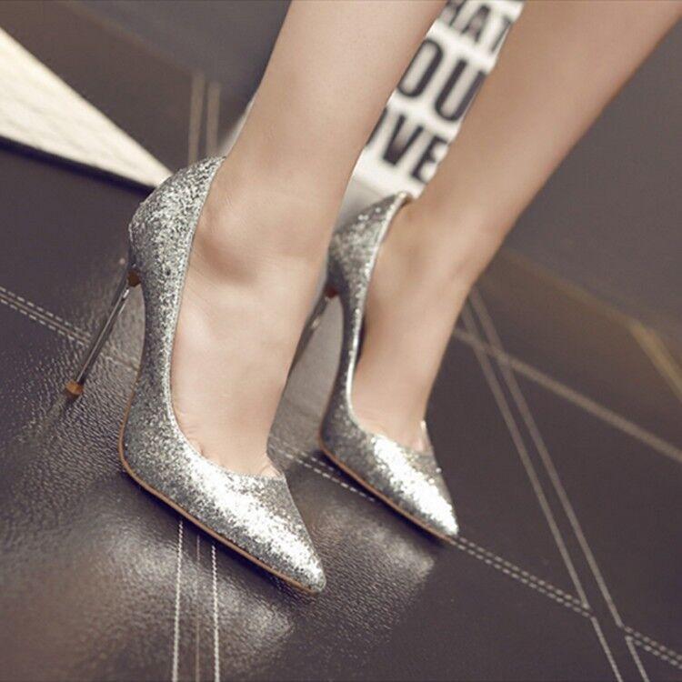 Para mujer en en mujer punta de Lentejuelas Tacones De Aguja Bombas Bling Resbalón en Zapatos de Taco Alto Super 4d5861