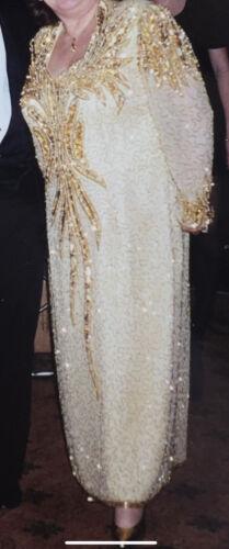 Macis Vintage Long Heavy Beaded Gold Gown Designer