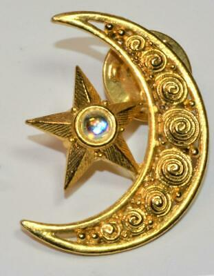 Luna y estrella de cristal Moda Broche Tono Dorado