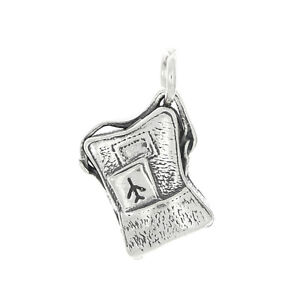 Suitcase Charm .925 Sterling Silver Bracelet Pendant Opens to Clothes Luggage Travel Opening