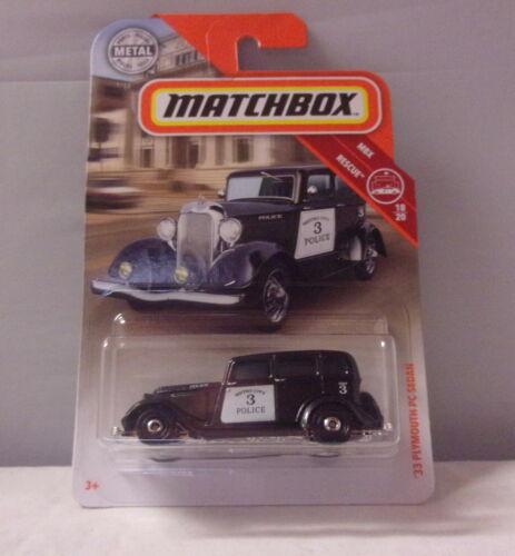 MB045 /'33 Plymouth PC Sedan KKar Matchbox Black Metro Pol 2019 BP 1-100